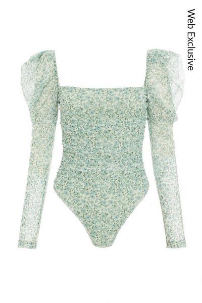 Sage Floral Square Neck Bodysuit